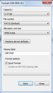 Thumb Drive format