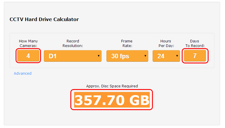CCTV Hard Drive Calculator