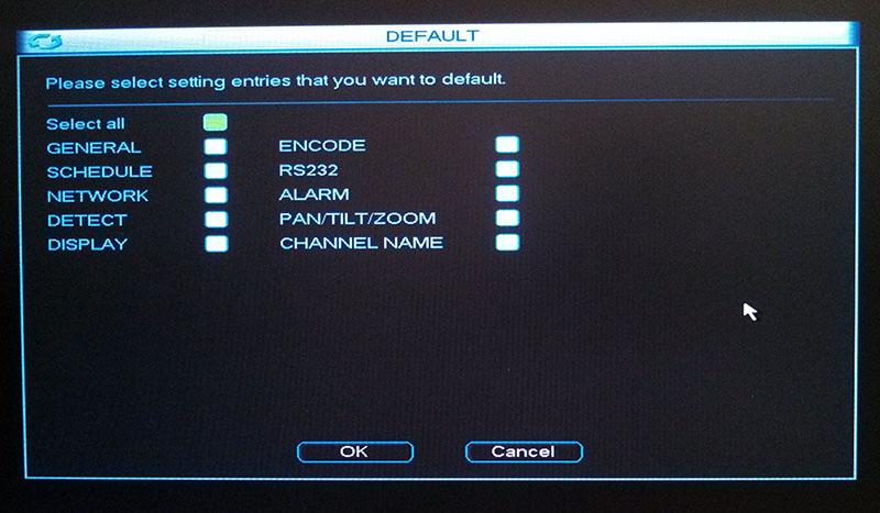 DVR Default Menu