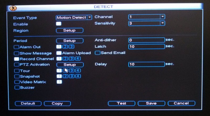 DVR Detect Menu