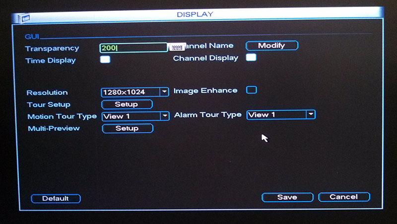 DVR Display Menu