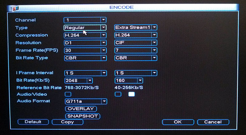 DVR Encode Menu