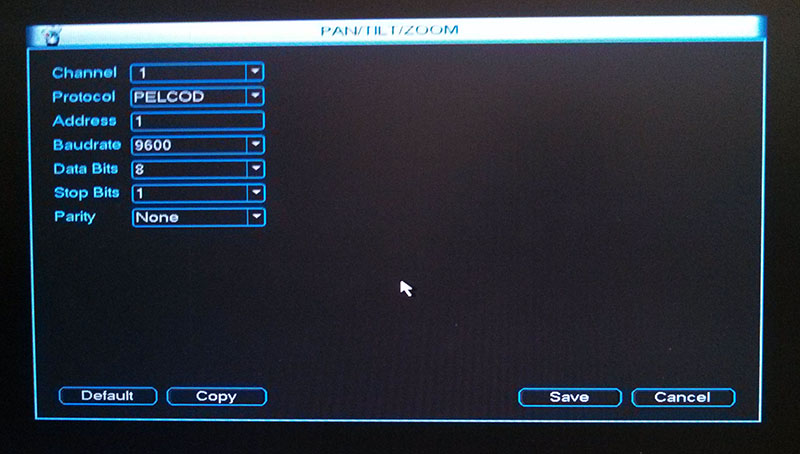 DVR Pan Tilt Zoom Menu