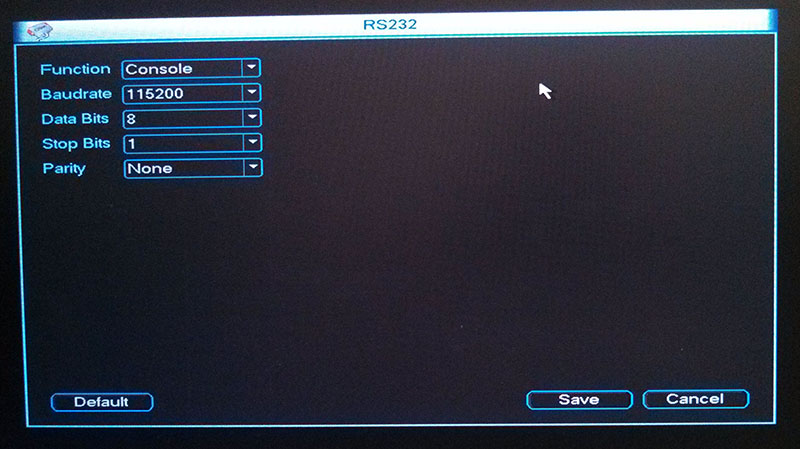DVR RS232 Menu