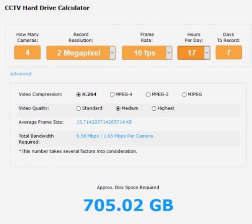 cctv storage calculator