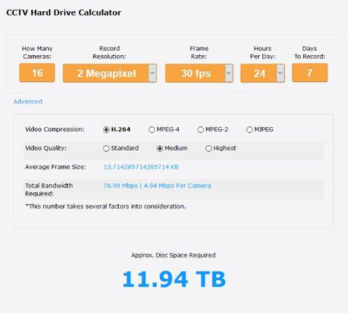 Cctv Storage Calculator Security Camera King