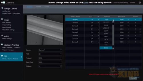 Change Video Mode On CVIPTZ-ELS2IRL30X
