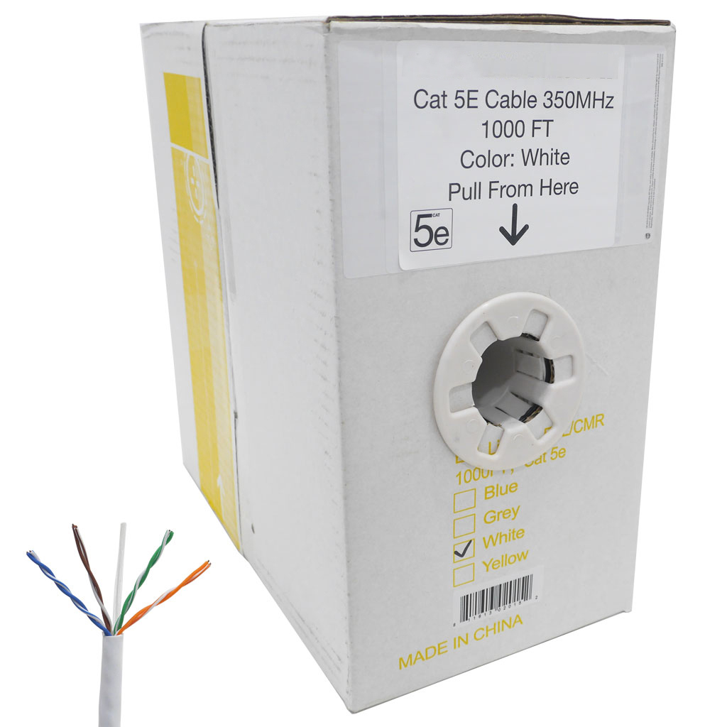 1000 FT Easy Pull Box of CAT5e Bare Copper Cable (White)
