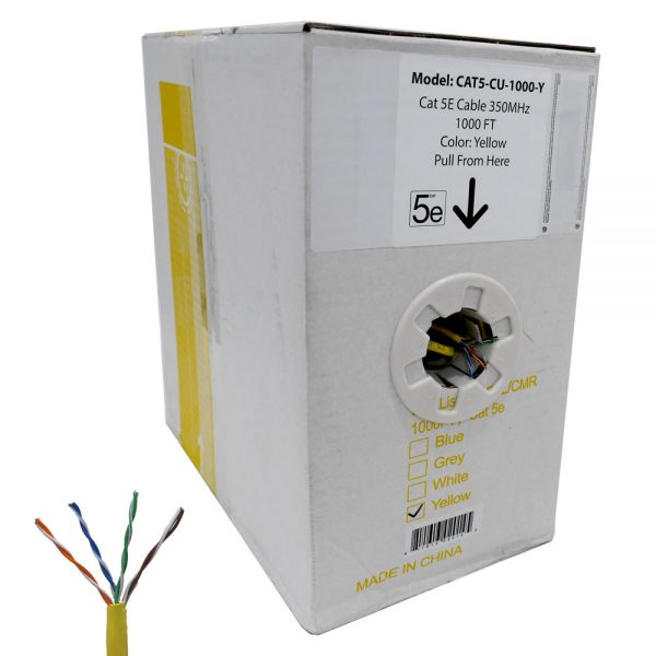 1000 FT Easy Pull Box of CAT5e Bare Copper Cable (Yellow)