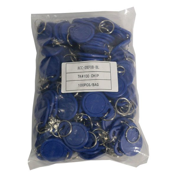 100 Pack DX Series 125KHz Access Control Key FOB (Blue)